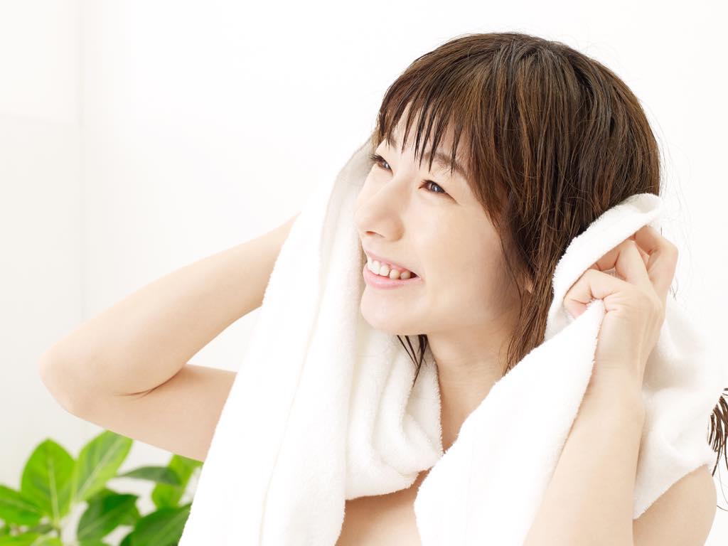 風呂上がりの女性